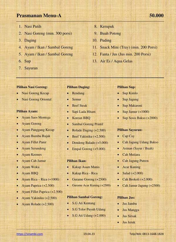 Catering Prasmanan Menu-A